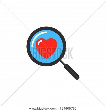 Magnifying glass with heart icon vector filled flat sign solid colorful pictogram isolated on white. Searching A Love Symbol logo illustration