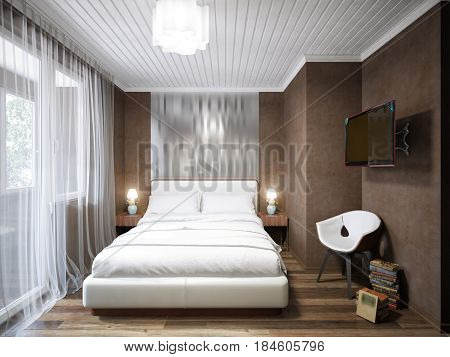 Urban Contemporary Modern Small Bedroom Interior Design. 3d rendering