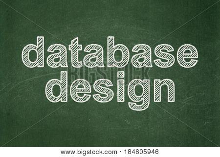 Software concept: text Database Design on Green chalkboard background