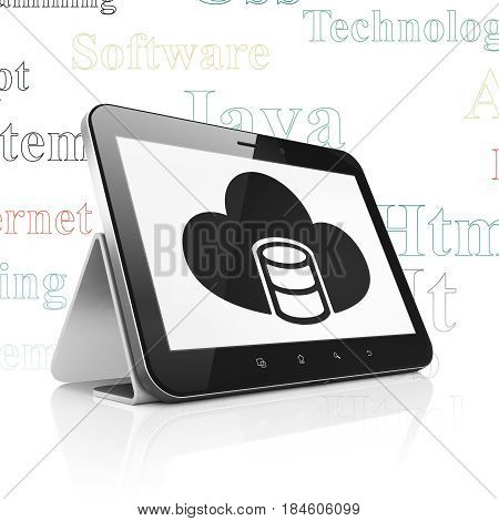 Software concept: Tablet Computer with  black Database With Cloud icon on display,  Tag Cloud background, 3D rendering