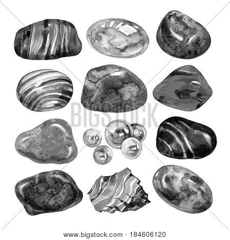 Collection of watercolor stones, illustration on white.