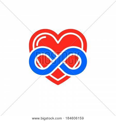 Eternal love icon vector filled flat sign solid colorful pictogram isolated on white. Heart with infinity symbol logo illustration