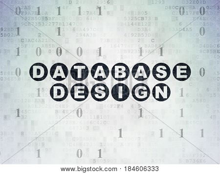 Programming concept: Painted black text Database Design on Digital Data Paper background with Binary Code