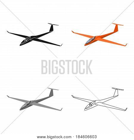 The orange fighter. High speed airplane for one person.Transport single icon in cartoon style vector symbol stock web illustration.