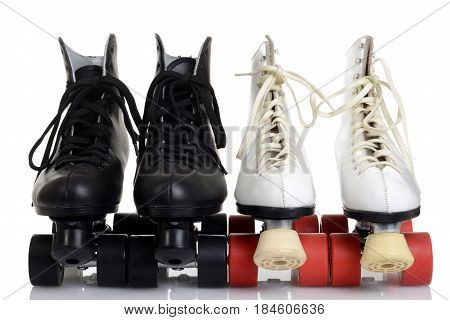 front view men and women quad roller skates