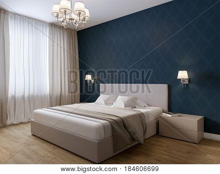Urban Contemporary Modern Bedroom Interior Design. 3d rendering