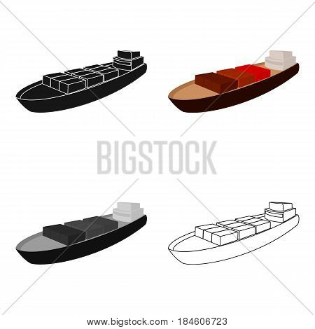 A ship for the transport of heavy goods over long distances by sea and ocean. Water freight transport.Transport single icon in cartoon style vector symbol stock web illustration.
