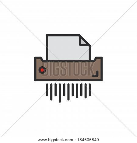 Paper shredder line icon filled outline vector sign linear pictogram isolated on white. Symbol logo illustration