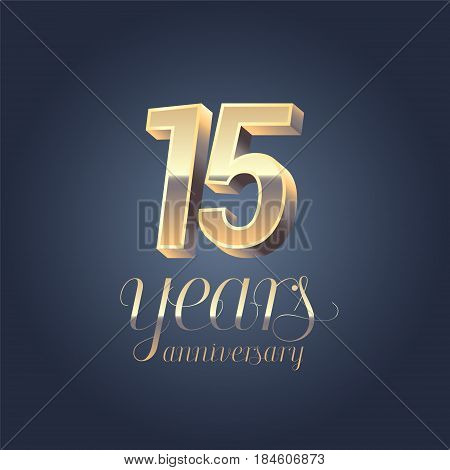 15th anniversary vector icon logo. Gold color graphic design element for 15 years anniversary birthday banner