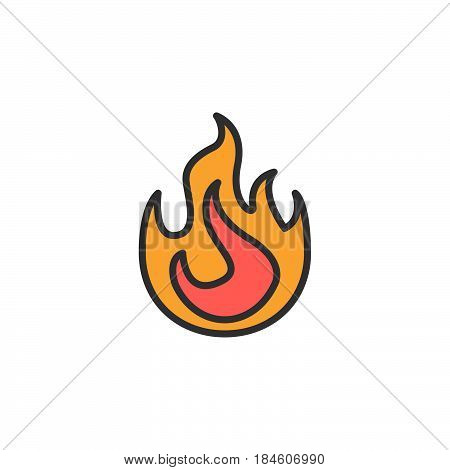 Fire flame line icon filled outline vector sign linear colorful pictogram isolated on white. Symbol logo illustration