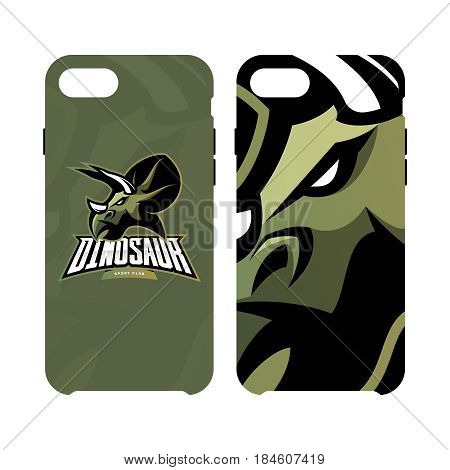 Furious dinosaur sport club vector logo concept smart phone case isolated on white background. Modern professional team badge mascot design. Premium quality wild reptile cell phone cover illustration. Savage monster icon.