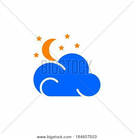 Moon stars cloud icon vector filled flat sign solid colorful pictogram isolated on white. Partly cloudy night weather forecast symbol logo illustration