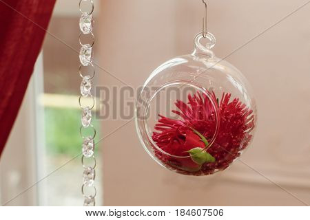 Wedding Decor. Stylish Glass Vase With Red Flower Hanging In Restaurant. Rustic Decor For Wedding Ce
