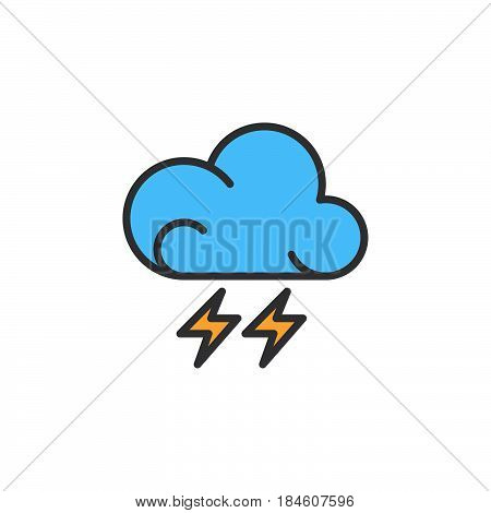 Lightning line icon filled outline vector sign linear colorful pictogram isolated on white. Thunderstorm weather forecast symbol logo illustration