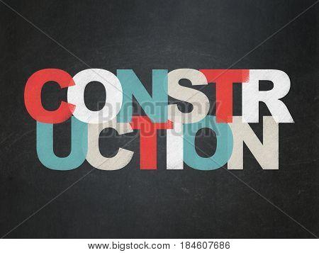 Building construction concept: Painted multicolor text Construction on School board background, School Board