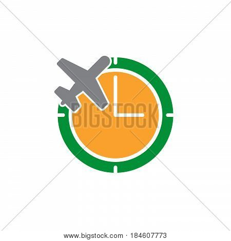 Clock and plane icon vector filled flat sign solid colorful pictogram isolated on white. Flight status symbol logo illustration