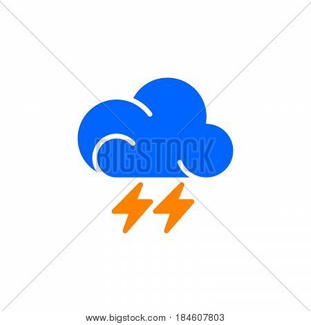 Lightning icon vector filled flat sign solid colorful pictogram isolated on white. Thunderstorm weather forecast symbol logo illustration