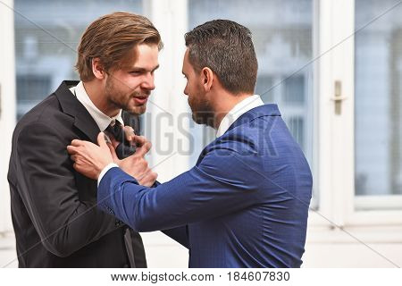 Fight, Business Conflict, Confident Men Or Businessmen Fight With Tie
