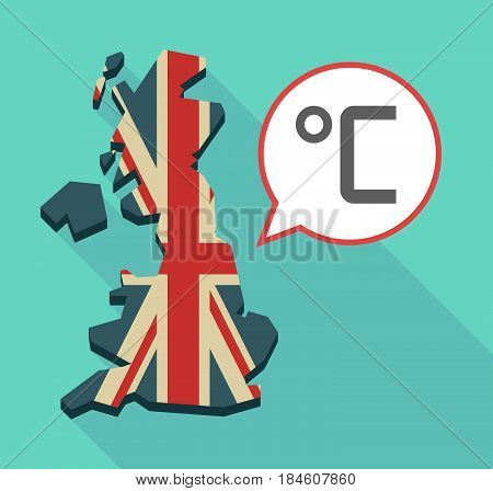 Long Shadow Uk Map With  A Celsius Degree Sign