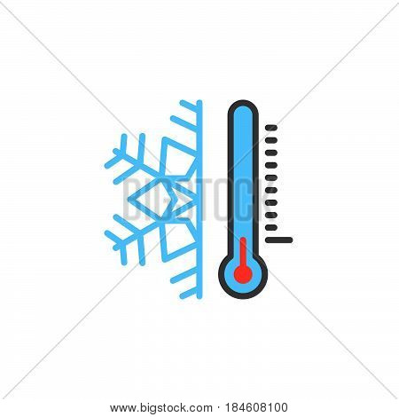 Thermometer and snowflake line icon filled outline vector sign linear colorful pictogram isolated on white. Cold temperature symbol logo illustration