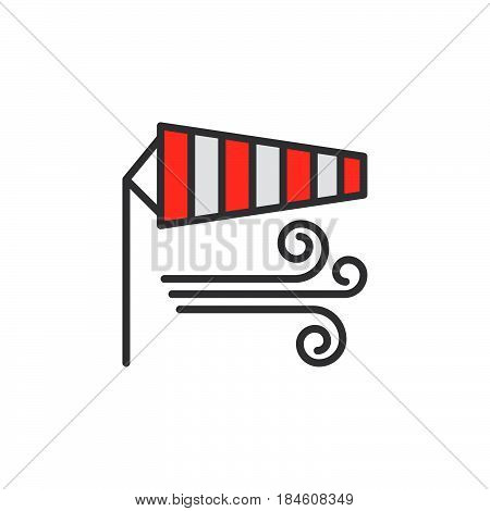 Windsock line icon filled outline vector sign linear colorful pictogram isolated on white. Wind symbol logo illustration