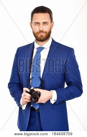 Man Or Serious Businessman With Photo Camera, Photographer, Journalist