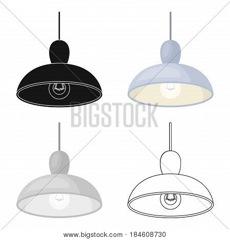 Chandelier with light bulb. The light in the bar. Pub single icon in cartoon style vector symbol stock web illustration.