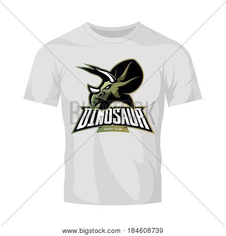 Furious dinosaur sport club vector logo concept isolated on white t-shirt mockup. Modern professional team badge mascot design. Premium quality wild reptile t-shirt tee print illustration. Savage monster icon.