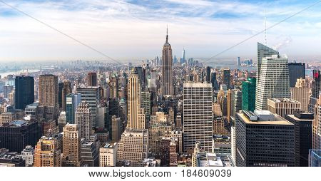 Manhattan - April 2015, New York, USA: View from Rockefeller Center towards Lower Manhattan in early morning
