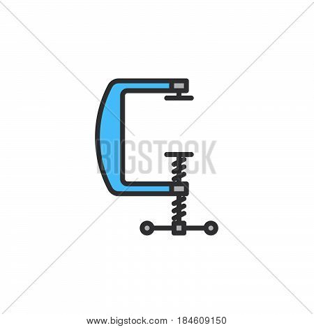 C clamp line icon filled outline vector sign linear colorful pictogram isolated on white. Compress symbol logo illustration