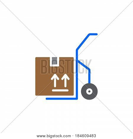 Hand track dolly icon vector filled flat sign solid colorful pictogram isolated on white. Symbol logo illustration