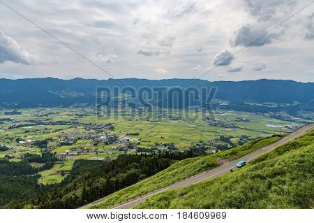 Aso Village And Agriculture Field In Kumamoto, Japan