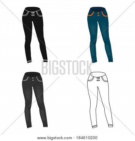 Blue women's jeans. Casual jeans comfortable clothing for women.  Woman clothes single icon in cartoon style vector symbol stock web illustration.