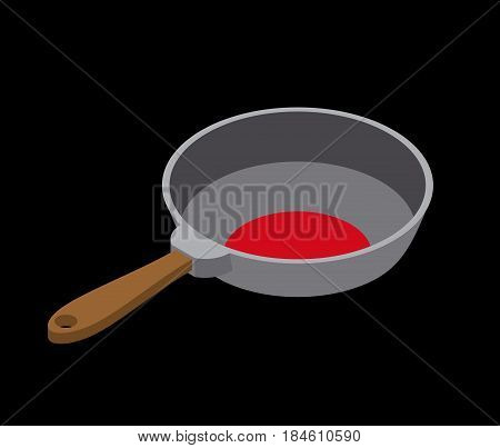 Frying Pan Isolated Isometry. Fry Dishes On White Background