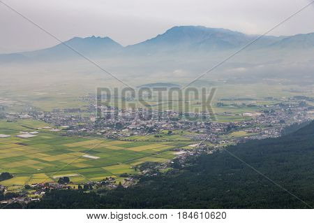 Agriculture And Mount Aso Volcano In Kumamoto, Japan