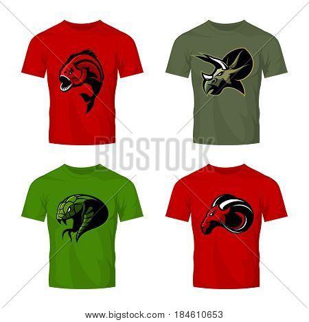Furious piranha, ram, snake and dinosaur head sport vector logo concept set on color t-shirt mockup.  Modern team mascot badge design. Premium quality wild animal t-shirt tee print illustration.