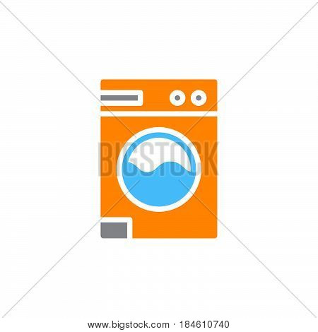 Laundry washing machine icon vector filled flat sign solid colorful pictogram isolated on white. Symbol logo illustration