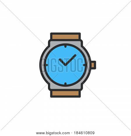 Wrist watch line icon filled outline vector sign linear colorful pictogram isolated on white. Wristwatch symbol logo illustration