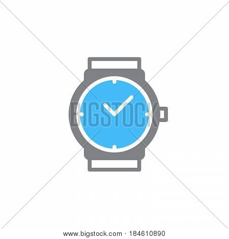 Wrist watch icon vector filled flat sign solid colorful pictogram isolated on white. Wristwatch symbol logo illustration