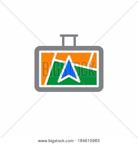 GPS navigator icon vector filled flat sign solid colorful pictogram isolated on white. Symbol logo illustration