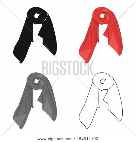 Red silk woman's scarf. Female an accessory scarf.  Woman clothes single icon in cartoon style vector symbol stock web illustration.