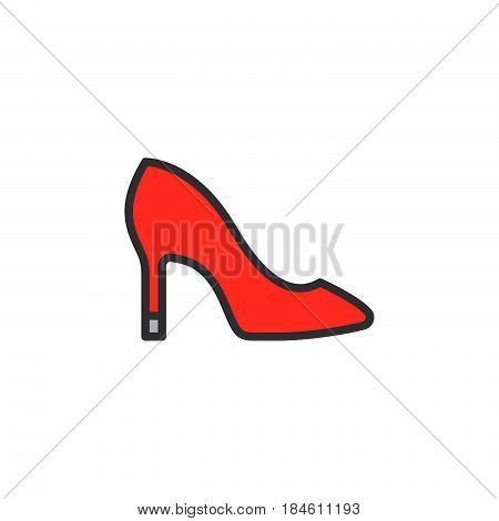 Womens shoes line icon filled outline vector sign linear colorful pictogram isolated on white. Symbol logo illustration