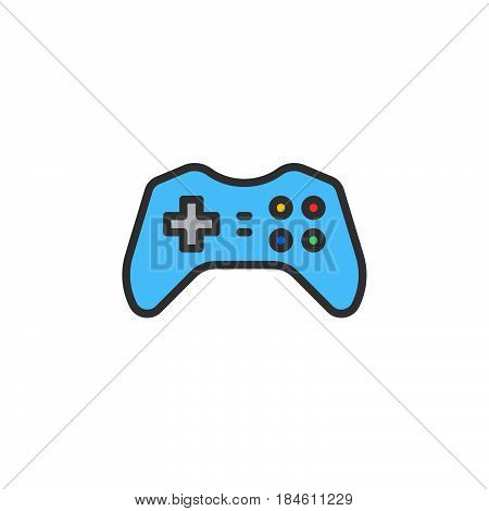 Gamepad joypad line icon filled outline vector sign linear colorful pictogram isolated on white. Gaming Controller symbol logo illustration