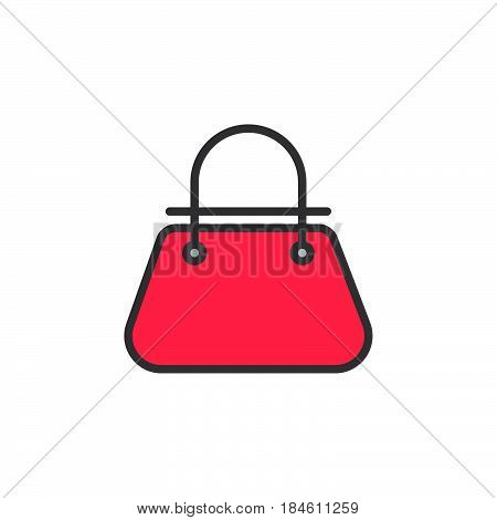 Bag line icon filled outline vector sign linear colorful pictogram isolated on white. Womens handbag symbol logo illustration