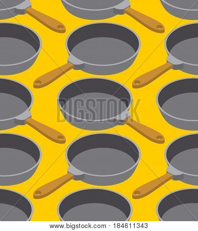 Frying Pan Seamless Pattern. Fry Dishes Background. Kitchen Ornament