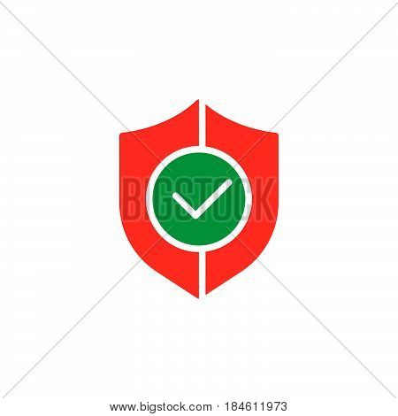 Shield with check mark icon vector filled flat sign solid colorful pictogram isolated on white. Buyer protection symbol logo illustration