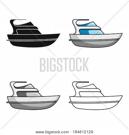 Expensive yacht for rich people.Yacht for vacations and short trips.Ship and water transport single icon in cartoon style vector symbol stock web illustration.