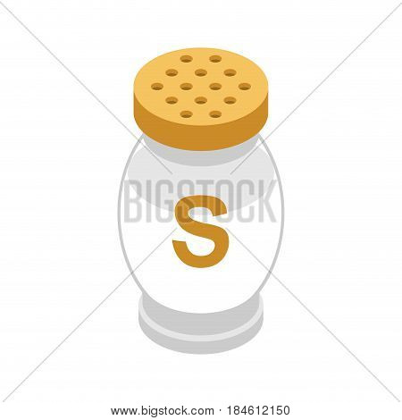 Salt In Glass Bottle. Seasoning On White Background