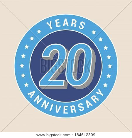 20 years anniversary vector icon emblem. Design element with blue color medal as a banner for 20th anniversary