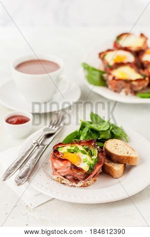 Bacon And Egg Cups With Spinach
